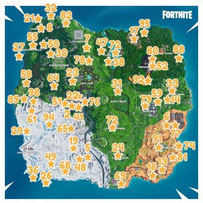 Saison 9 Tous les emplacements de carte des défis de Fortbyte