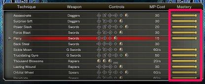 La maîtrise déverrouille la technique sur des armes de même catégorie