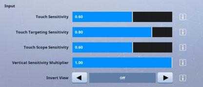 Paramètres de sensibilité suggérés par Fortnite