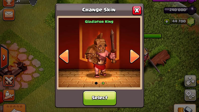 Peau de héros exclusive dans Clash of Clans