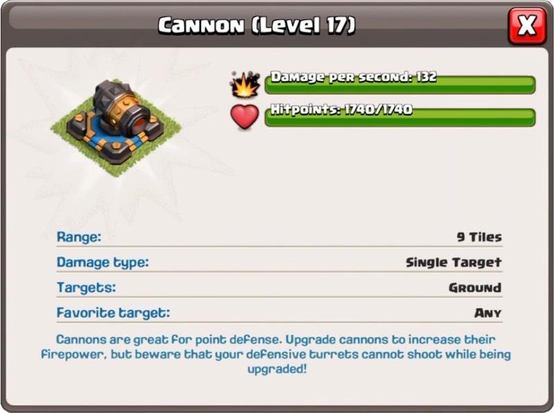Canon Niveau 17 - Clash of Clans