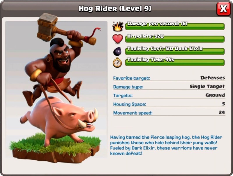 Cavalier de sanglier niveau 9 - Clash of Clans