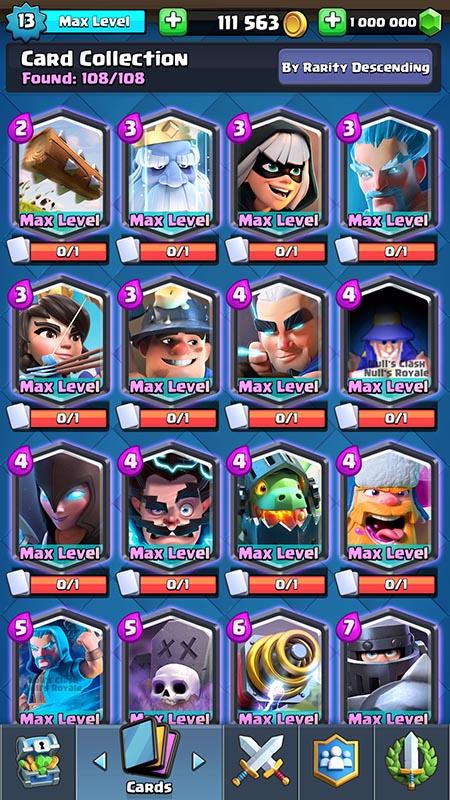108 cartes sur un serveur Nulls Royale