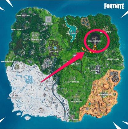 Vue de la carte à proximité de l'usine sous pression