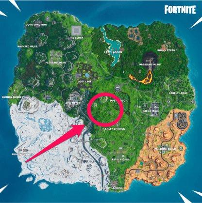 Près de Dusty Divot Map View
