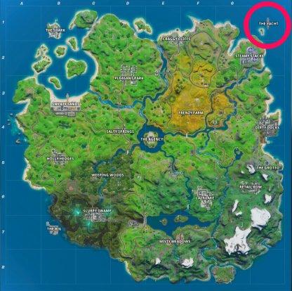 L'emplacement de la carte du yacht