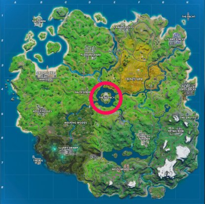 L'emplacement de la carte de l'agence