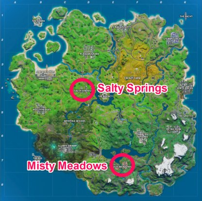 Coffre Misty Meadows / Salty Springs: Emplacements