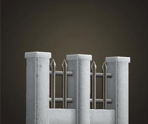 Clôture en fer et en pierre