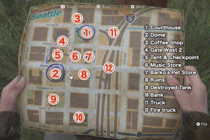 Carte et emplacements du centre-ville de Seattle  – The Last Of Us 2