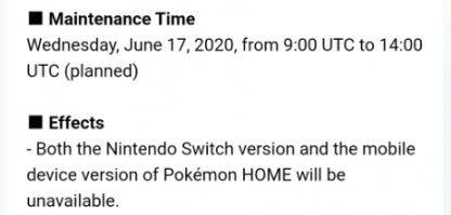 Après la maintenance de Pokemon Home