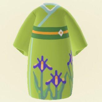Kimono vert-marron avec motif iris