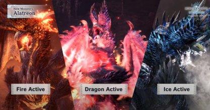 Bascule entre les éléments de feu, de glace et de dragon