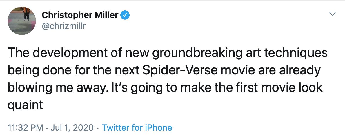 Christopher Miller sur Spider-Man dans le Spider-Verse 2