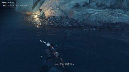 Échelle de la falaise par le pêcheur