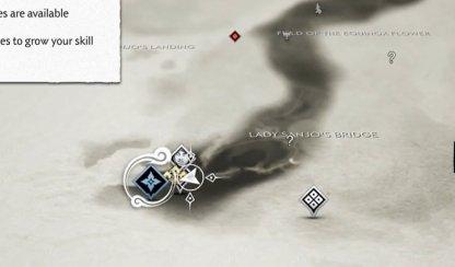Emplacement sur la carte des six lames de Kojiro