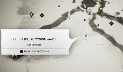 Emplacement de la carte de Duel dans le marais de noyade